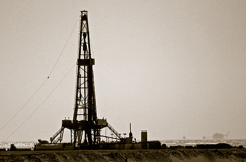 Oil Rig (sepia)