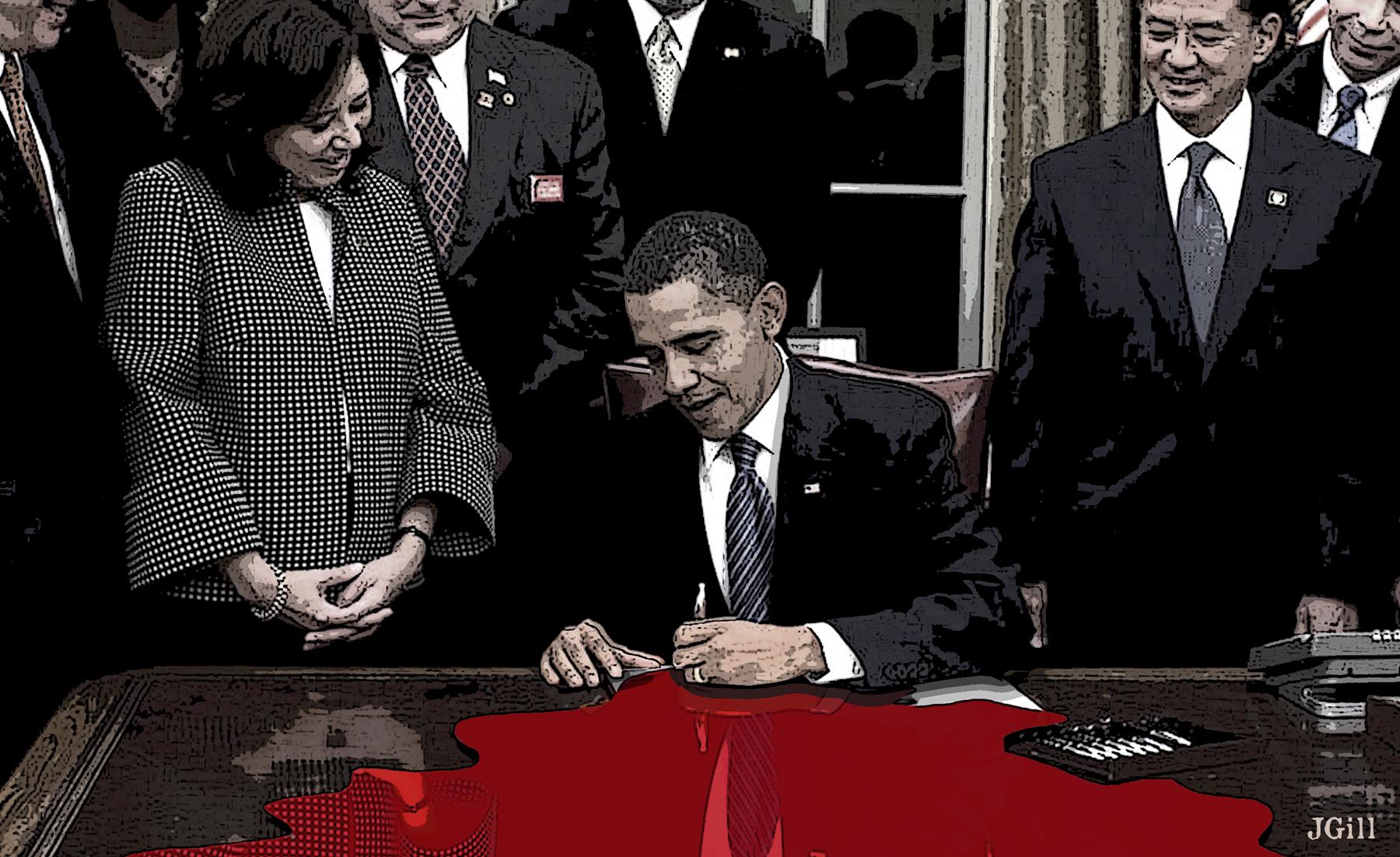 Veterans and the political class, Obama, military, collage, photomontage, http://cognitivebiasparade.prosite.com/, Paul Jacob, political, politics, blood