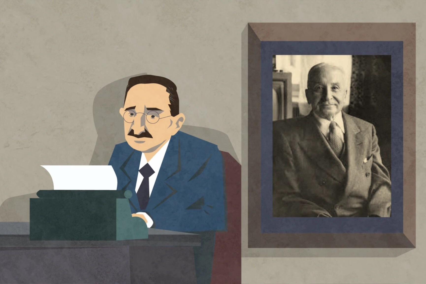 Hayek and Mises cartoon