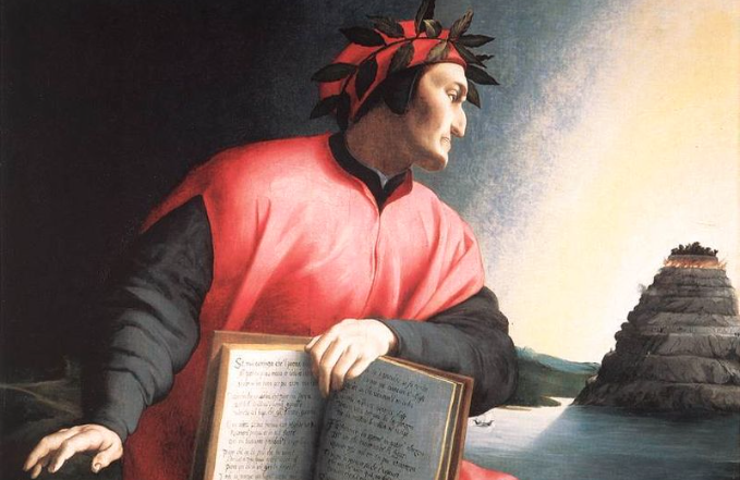 Alegorical portrait of Dante Alighieri, from Agnolo Bronzino, c. 1530. The book he holds is a copy of the Divine Comedy, open to Canto XXV of the Paradiso.