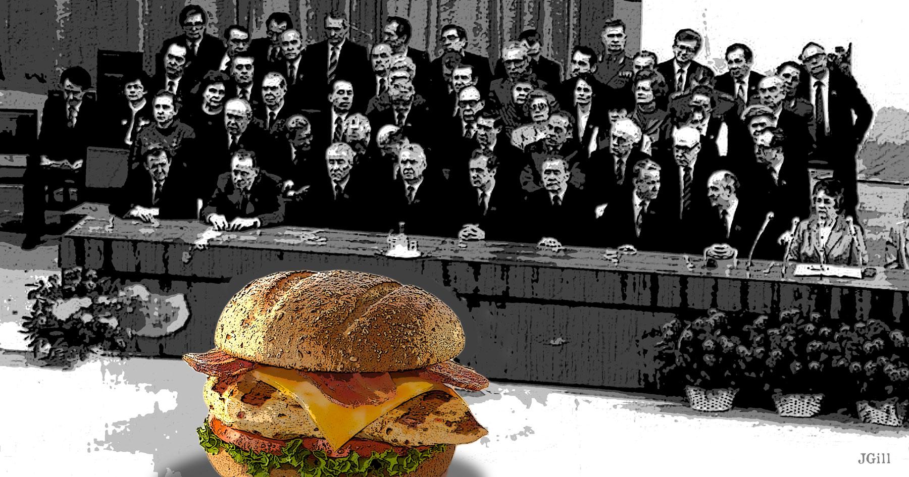 Chicken Politburo, politics, photomontage, Paul Jacob, James Gill, collage