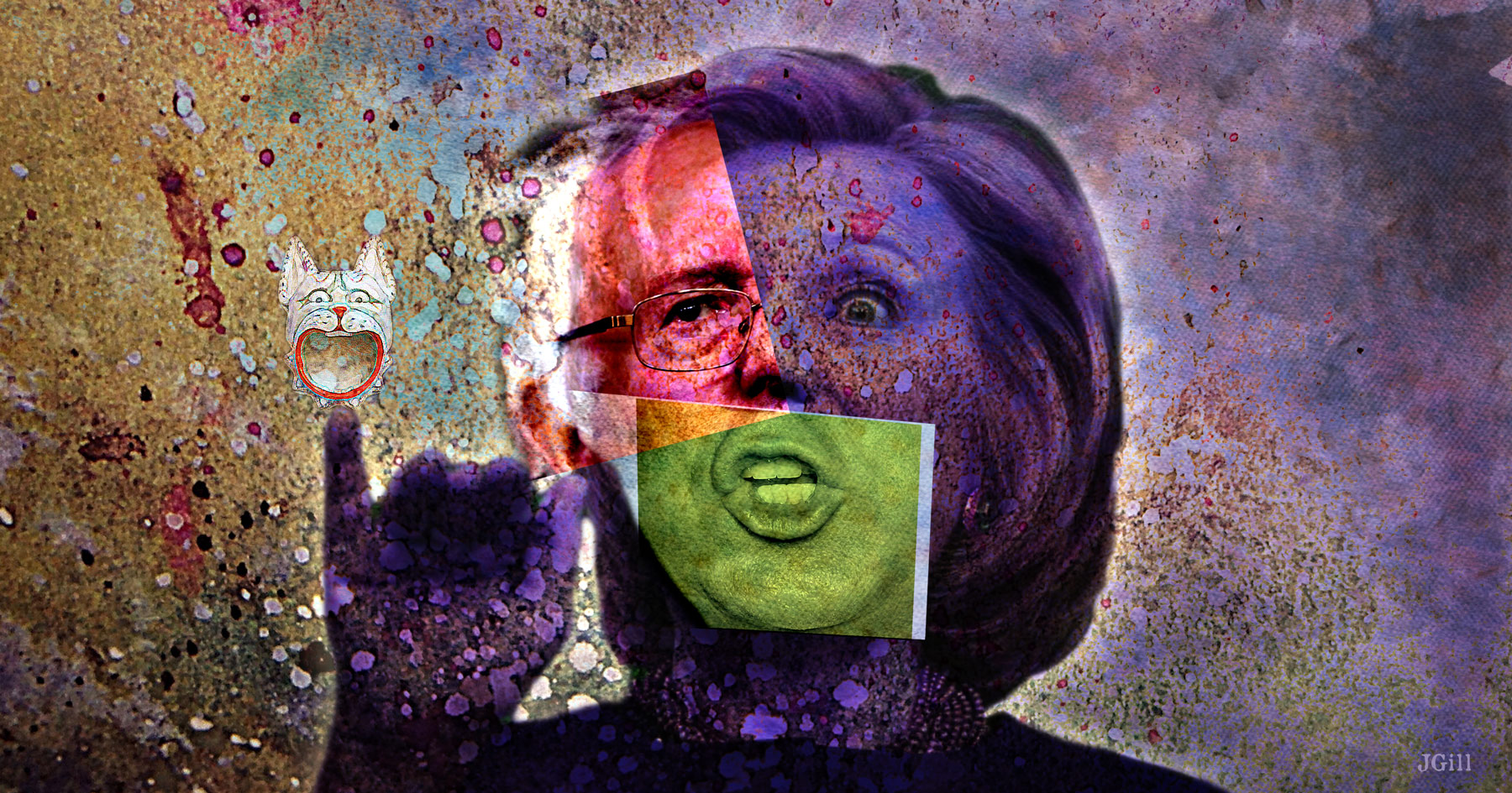 Presidential Weirdness, collage, photomontage, http://cognitivebiasparade.prosite.com/, Paul Jacob, James Gill, Presidential Race, political, politics