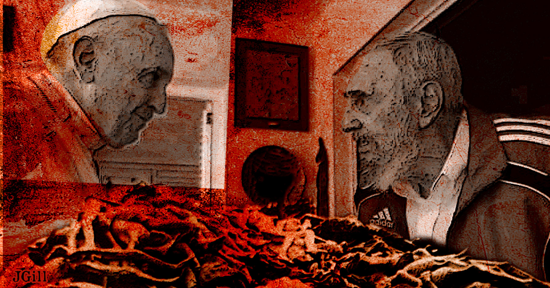 Pope, Castro, Vatican, Cuba, collage, photomontage, illustration, Paul Jacob, James Gill, Common Sense