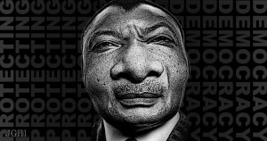 Congo-Brazzaville's president, Denis Sassou Nguesso, Nguesso, Africa, democracy, voting, elections, collage, photomontage, illustration, JimGill, Paul Jacob, Common Sense