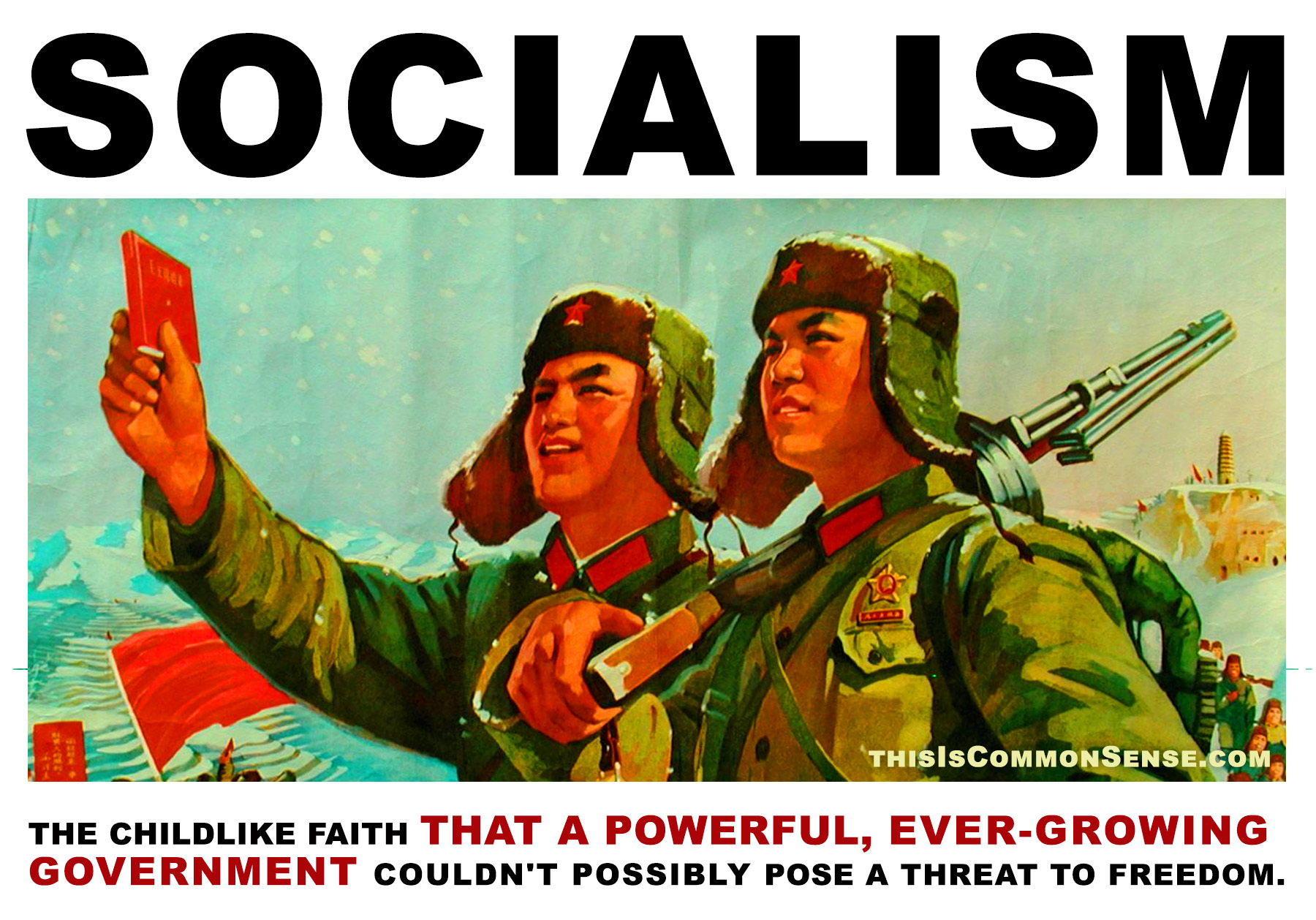 socialism, childlike faith, government, power, progressivism, Paul Jacob, Jim Gill, Common Sense, meme, illustration