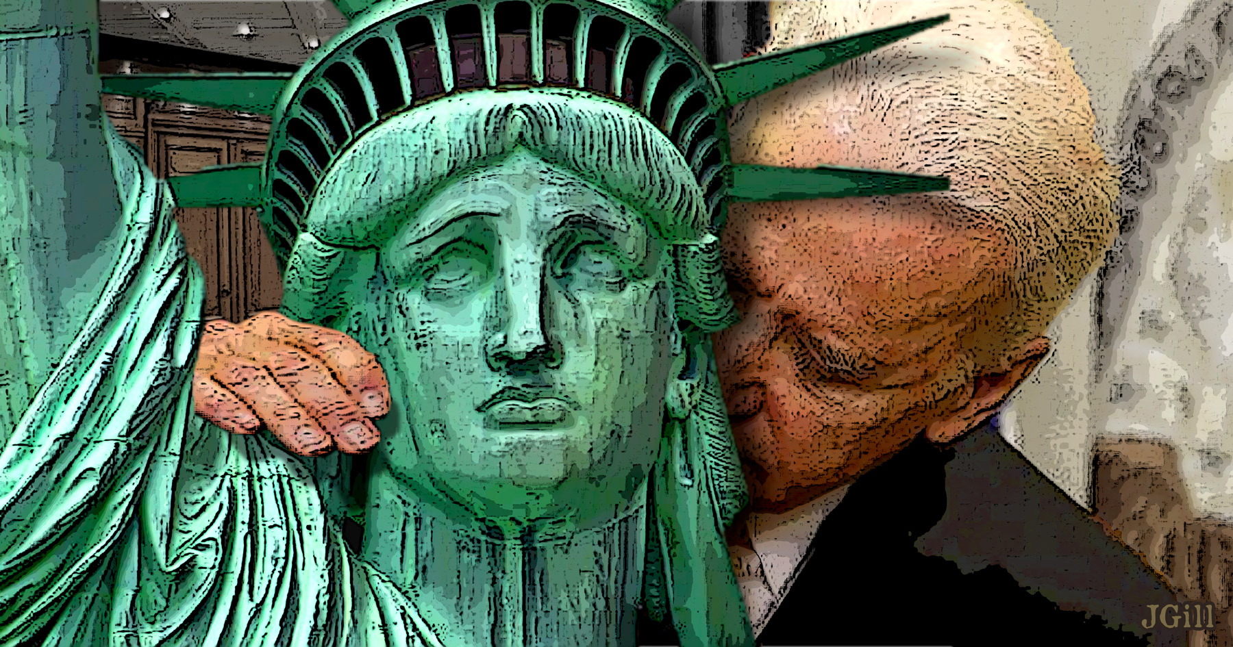 Joe Biden, president, election, nuzzle, statue of liberty, photomontage, collage, illustration, Jim Gill, Paul Jacob, Common Sense