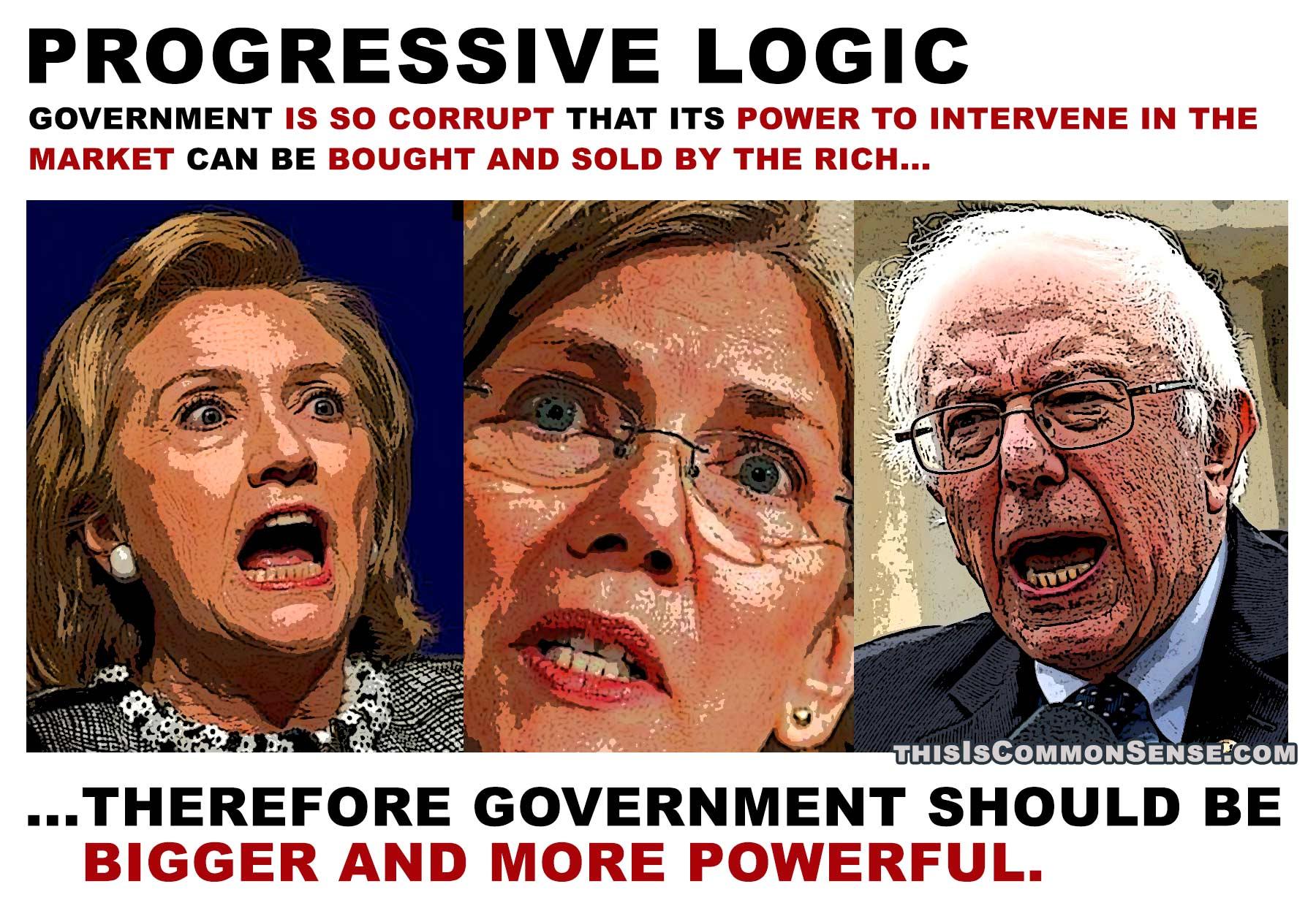 progressive logic, crony capitalism, corruption, big government, government power, meme, illustration, photomontage, Jim Gill, Paul Jacob, Common Sense