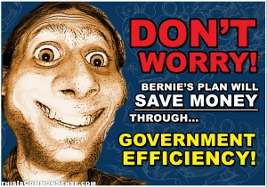 Bernie Sanders, plan, socialism, government, efficiency, progressivism, collage, photomontage, cartoon, illustration, Paul Jacob, Jim Gill, Common Sense