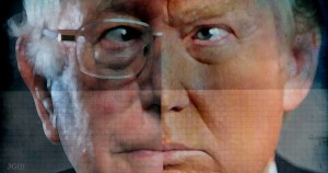 Donald Trump, Bernie Sanders, economics, free trade, collage, photomontage, Jim Gill, Paul Jacob, Common Sense