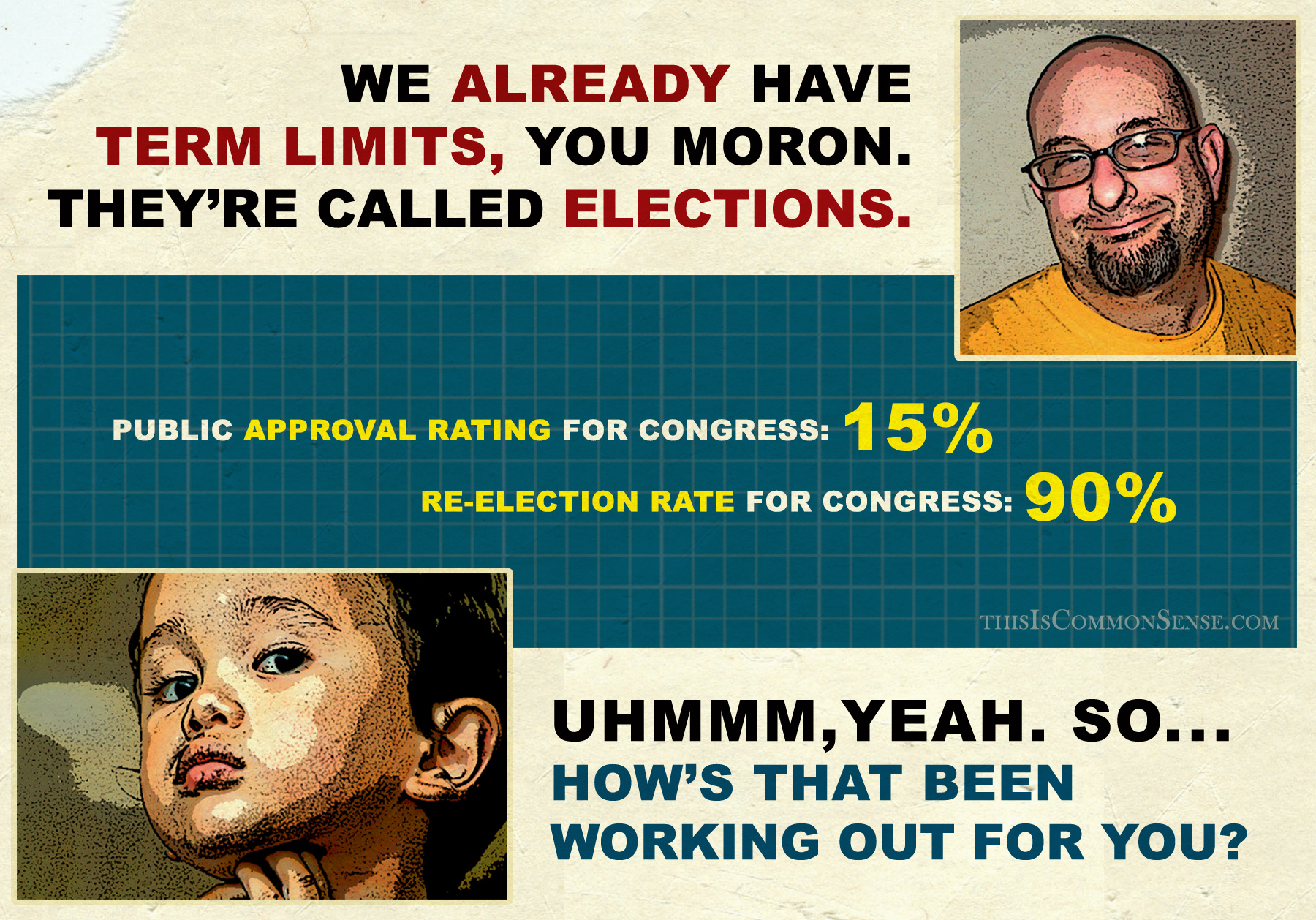 Term Limits, meme, illustration, congressional approval rating, re-election rate