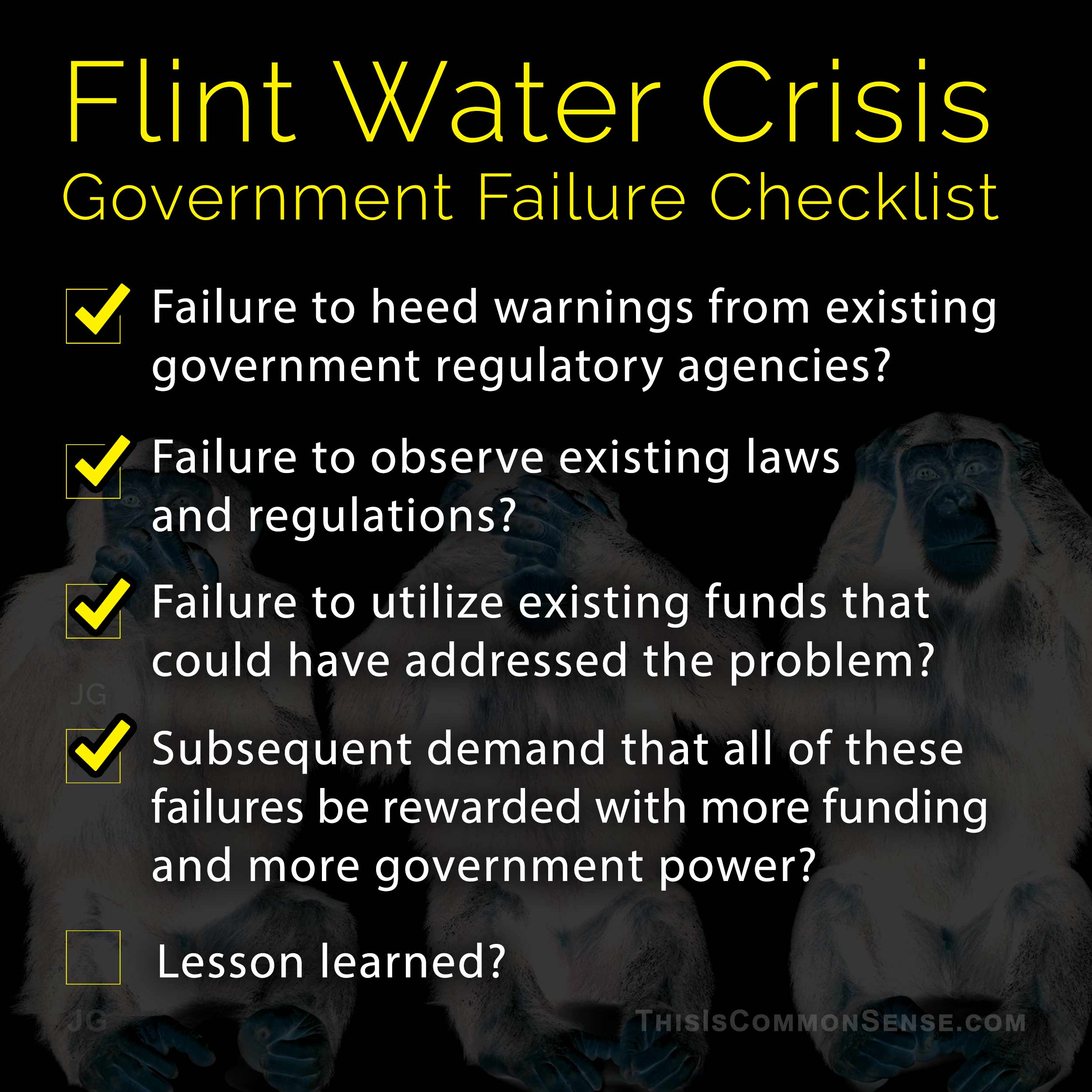 Flint, water, crisis, poison, government, free market, austerity, failure, Common Sense, Meme, James Gill, Paul Jacob