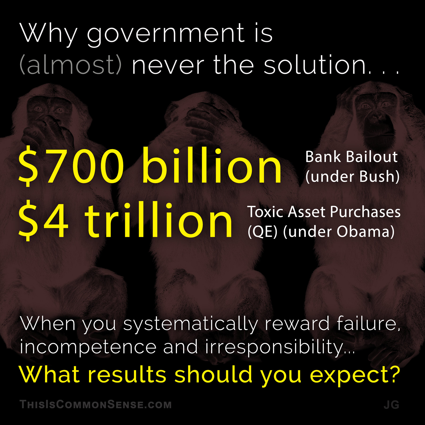 big government, solutions, toxic assets, bank bailout, meme, illustration, Jim Gill, Paul Jacob, Common Sense