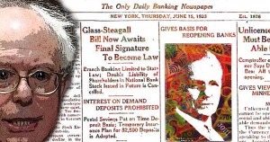 Bernie Sanders, Glass Steagall, ratings, agency, Common Sense, illustration, Paul Jacob, James Gill