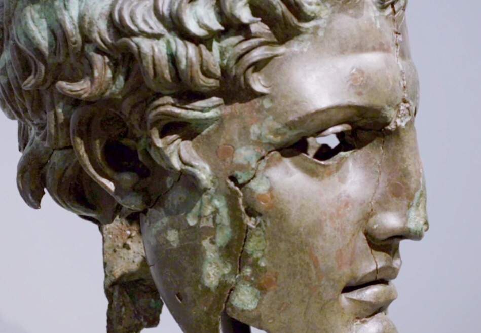 Greek bronze bust, detail