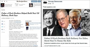 Koch brothers, Nazi, New York Times, shame, Common Sense, illustration