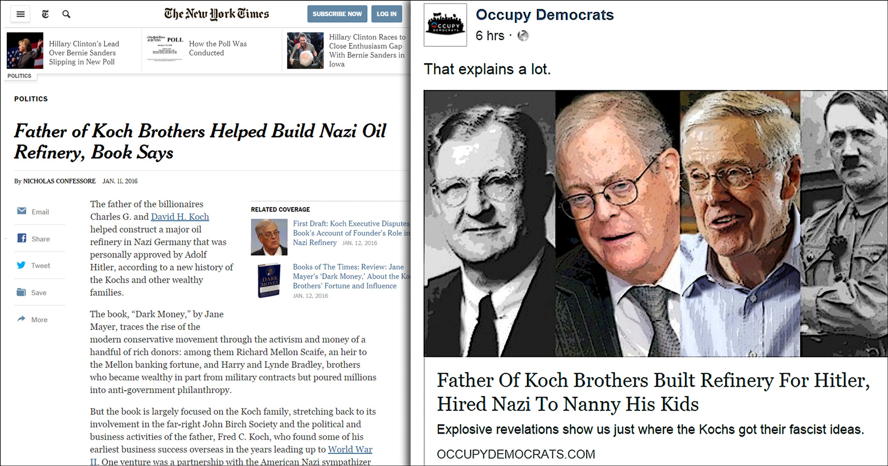 Koch brothers, Nazi, New York Times, shame, Common Sense, illustration