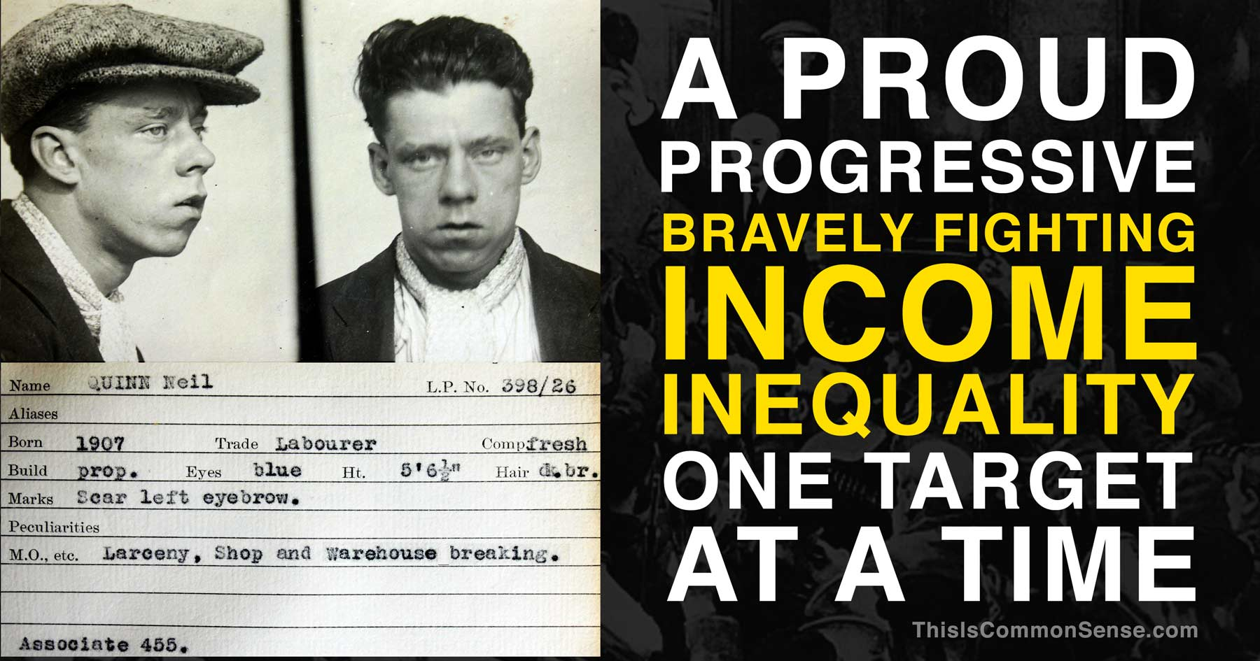 income inequality, progressive, robbery, thief, theft, criminal, illustration, meme, Common Sense