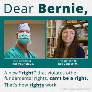 Dear Bernie, rights, violation, violates, how rights work, meme, Common Sense
