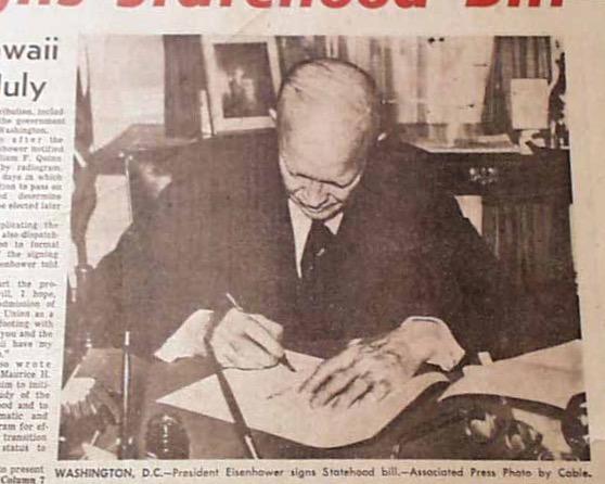 Eisenhower signs Hawaii statehood bill