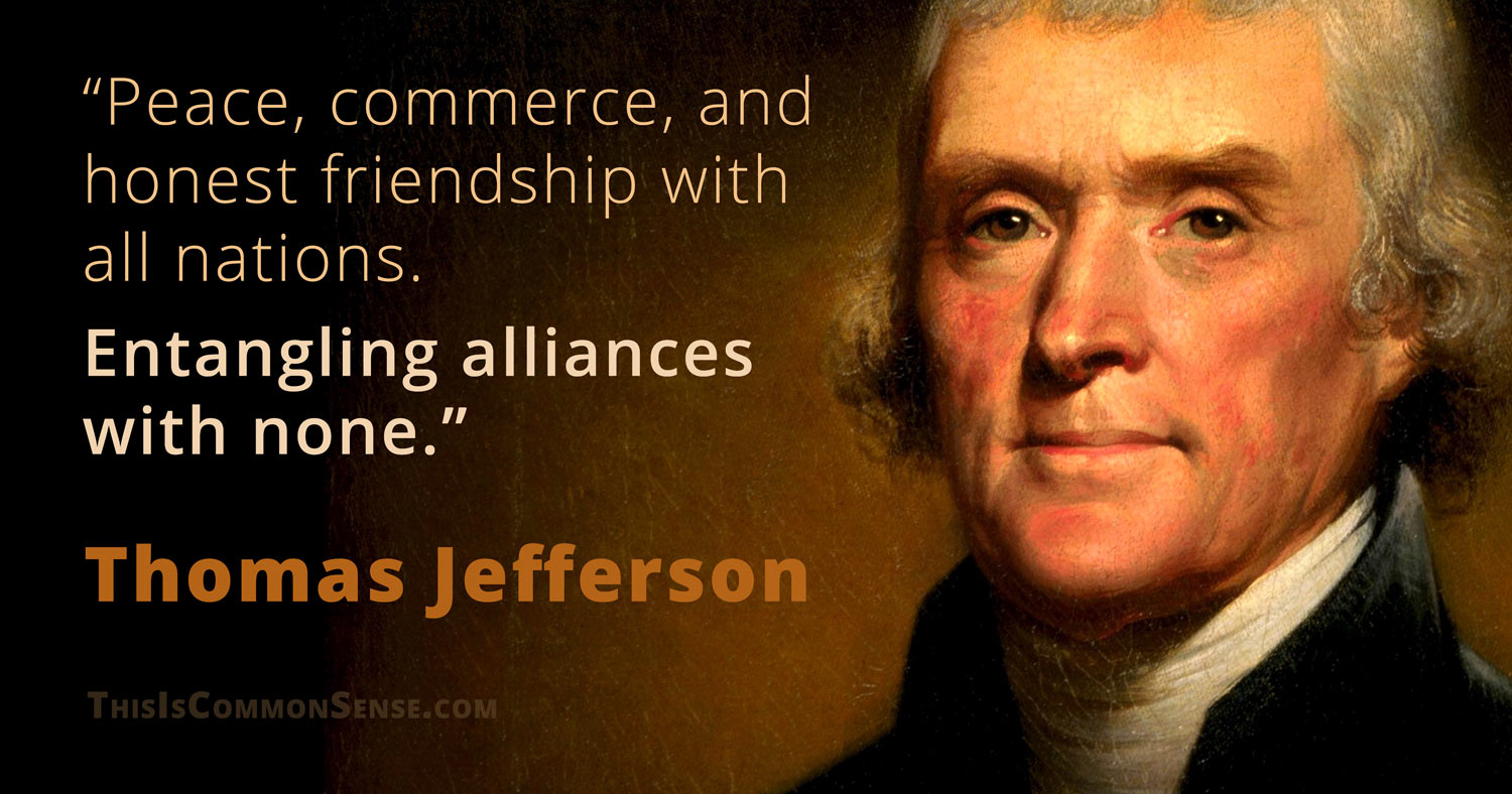 Donald Trump, Thomas Jefferson, empire, entangling alliances, meme