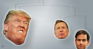 Trump, Rubio, Kasich, election, primary, illustration