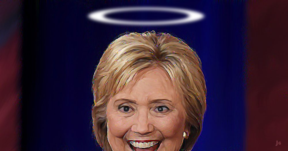 Hillary Clinton, Bernie Sanders, campaign finance reform, big money, illustration, angel, Saint Hillary