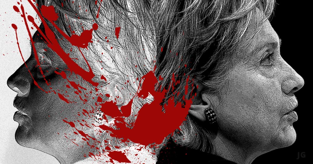 Hillary Clinton, Bernie Sanders, war, foreign policy, blood stained, death, military, illustration