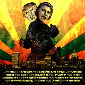 Hillary Clinton, Donald Trump, Godzilla, beast, business as usual, presidential, meme, illustration, collage