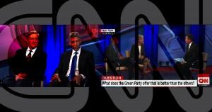 CNN, debates, town hall, libertarian, green, Gary Johnson, Jill Stein, centrism, illustration