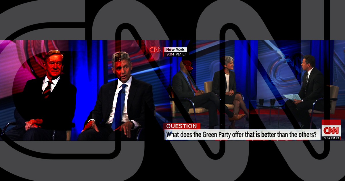CNN, debates, town hall, libertarian, green, Gary Johnson, Jill Stein, centrism, illustration