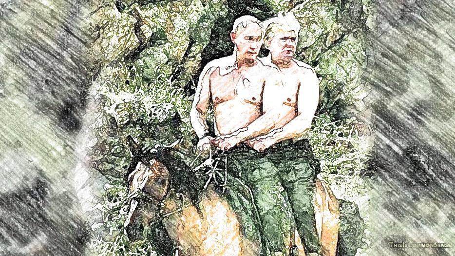 Putin and Trump, a japing photo