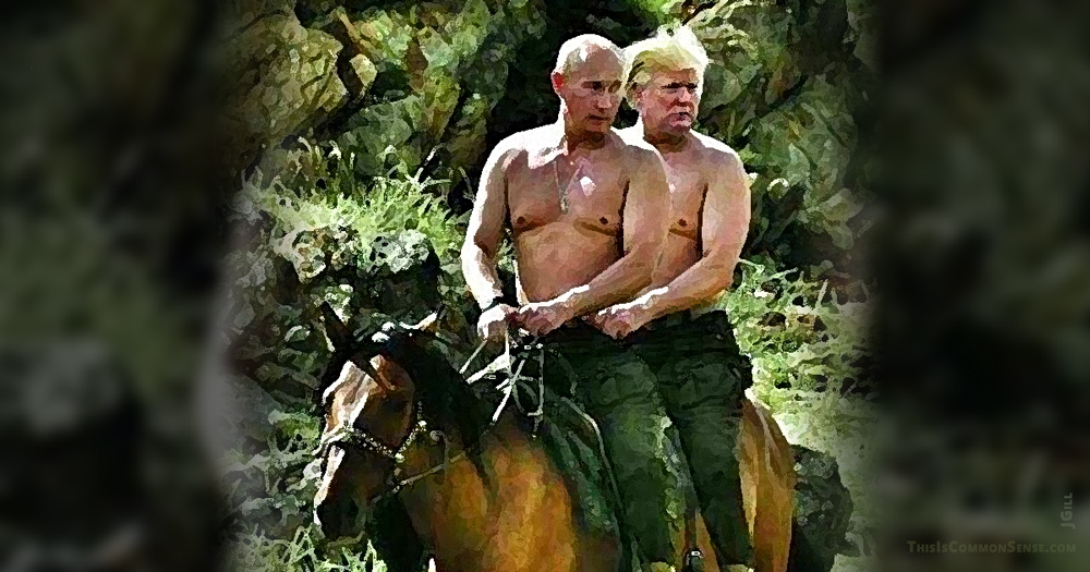 Russia, Putin, Trump, horseback, illustration