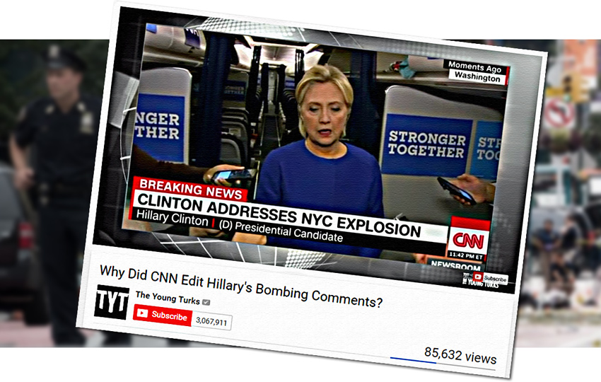 HIllary Clinton, CNN, bomb, bombing, bias, illustration