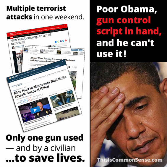 Poor Obama, gun control script in hand