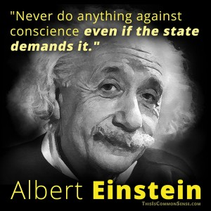 Einstein, quote, the state, conscience, meme, illustration