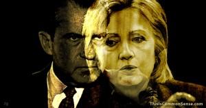 Hillary, Nixon, president, awkward, hated, illustration