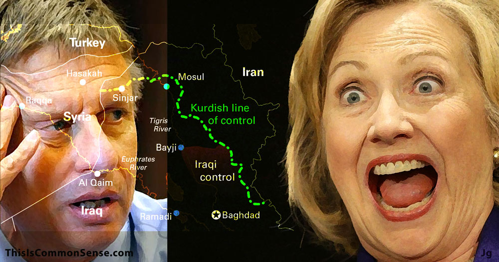 Hillary Clinton, Gary Johnson, Mosul, Syria, Turkey, illustration