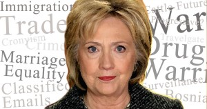 Hillary Clinton, lies, truth, untrustworthy, immigration, trade, drug war, war, Bosnia, Surveillance, Gay Rights, illustration