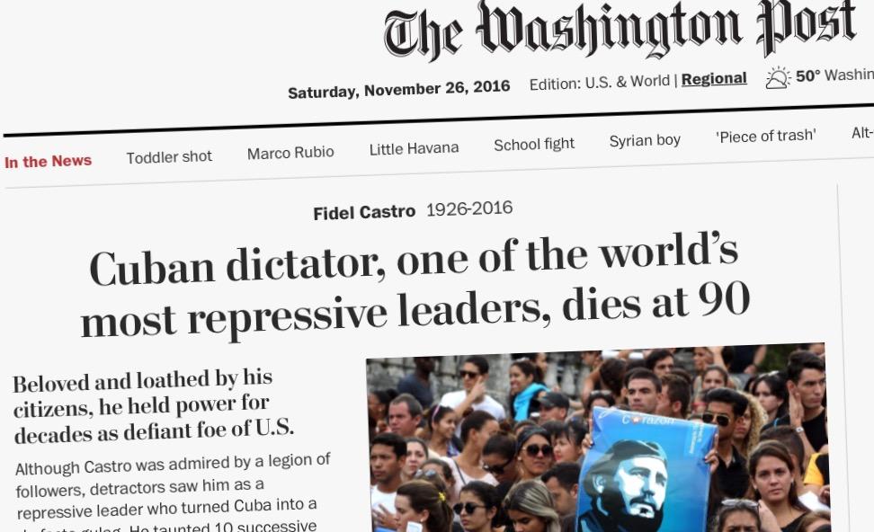 Washington Post First Oage Castro Dead