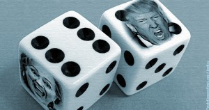 gamble, betting, HIllary Clinton, Donald Trump, president, presidency, election, voting, illustration, creative commons