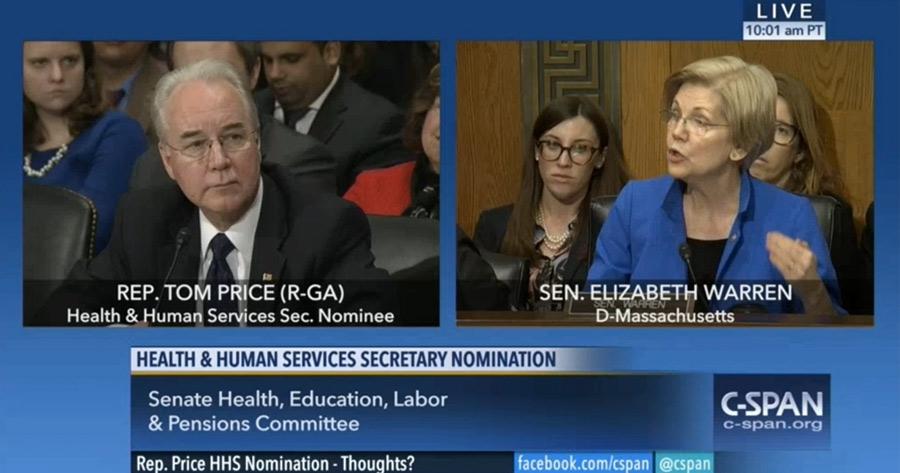 Price, Warren, hearings, Secretary of Health and Human Services, Elizabeth Warren, Tom Price
