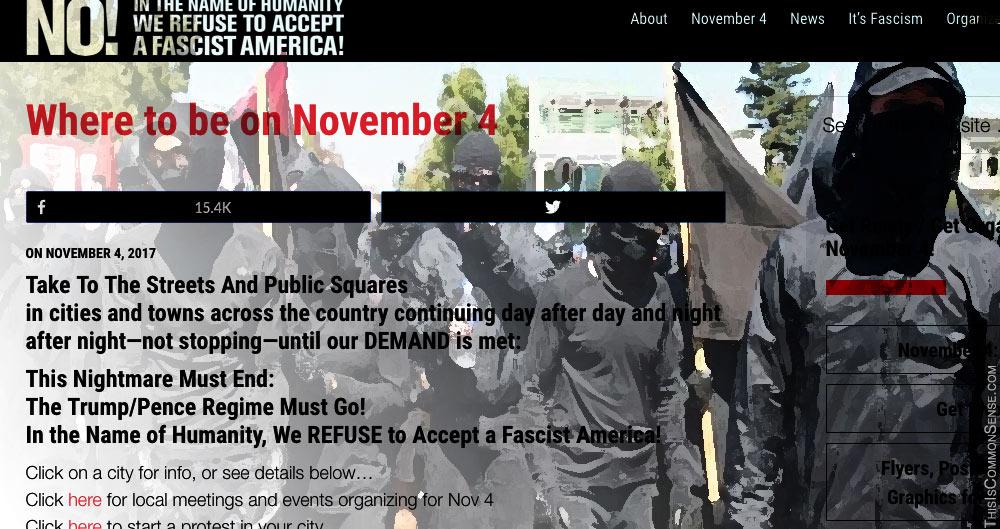 Antifa, fascist, fascism, November 4, protest, coup, overthrow, violence,