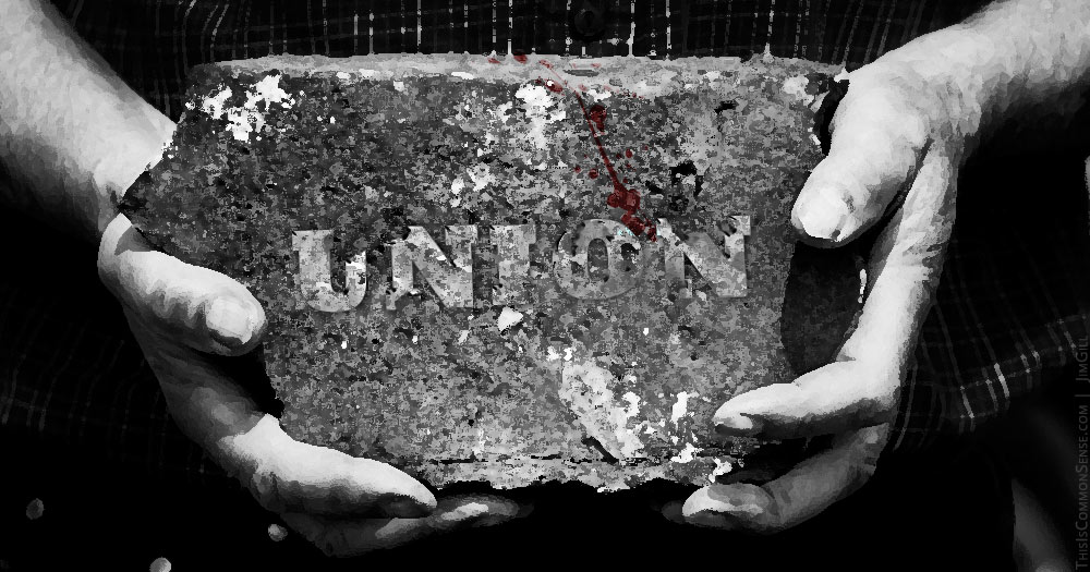 union, labor, France, brick, busting, scab, President Emmanuel Macron,