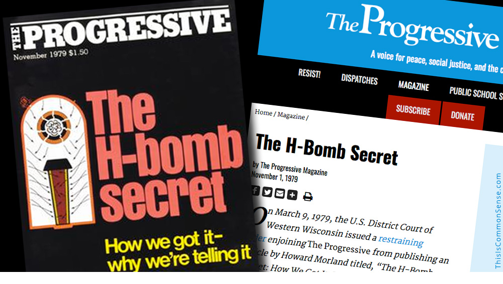 Progressive, magazine, H-Bomb, plans, free speech, First Amendment