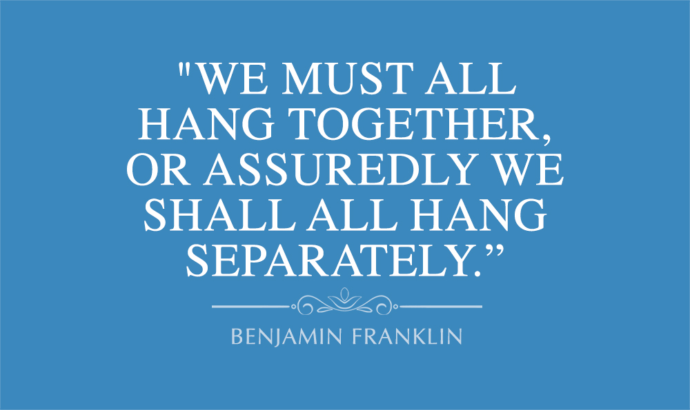 Benjamin Franklin, We must all hang together, quote