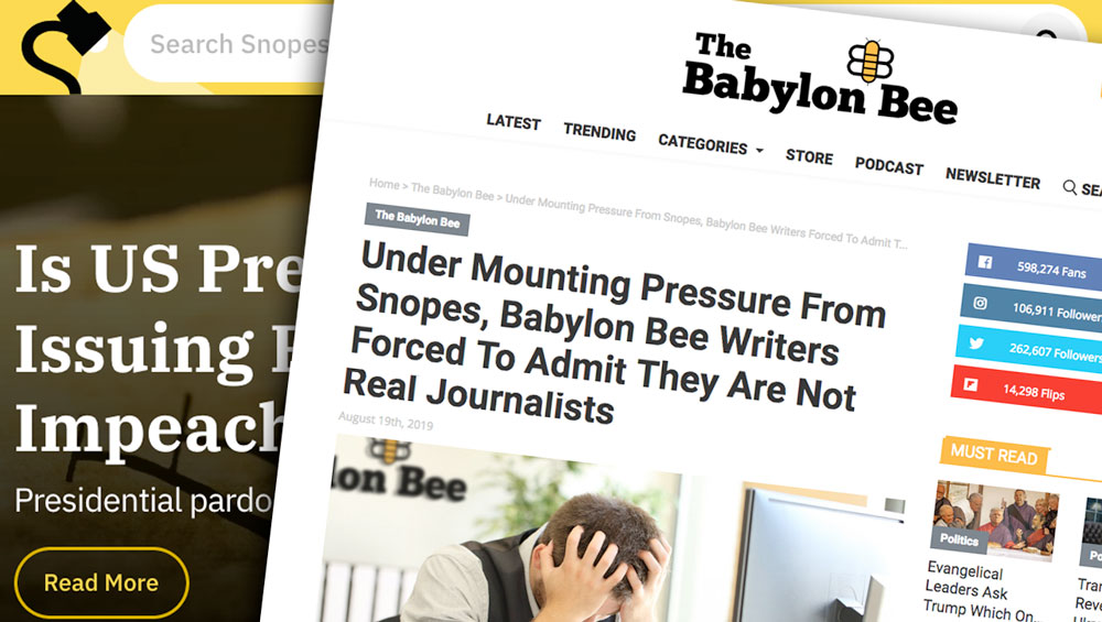 Babylon Bee, Snopes, fake news, satire