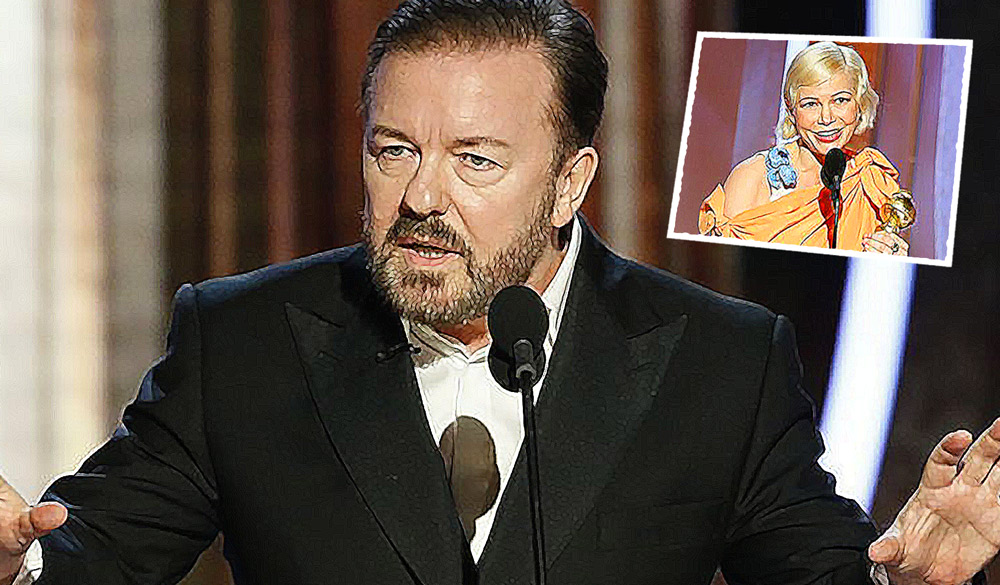 Ricky Gervais, Michelle Williams, abortion,